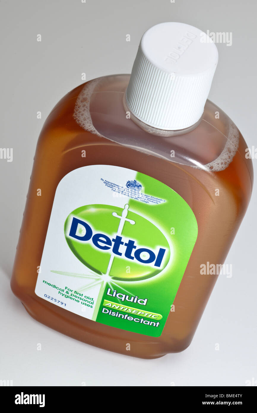 Bottle of Antiseptic Dettol liquid disinfectant - Stock Image