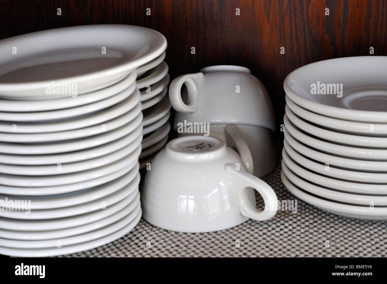 Empty Plates, Saucers and Cups - Stock Image