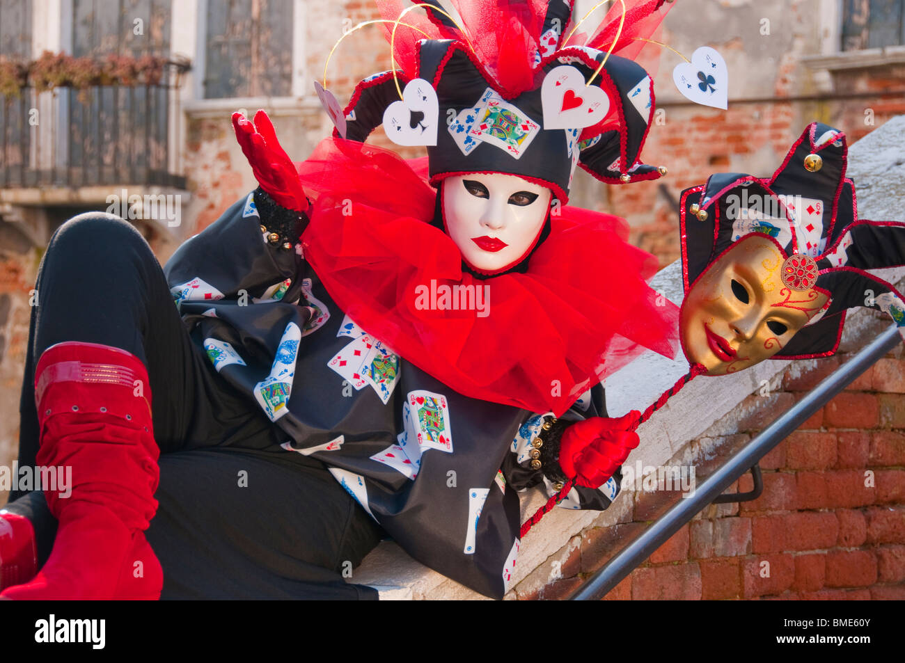 Venice, Italy, Carnival Costumed Jester participant Stock Photo