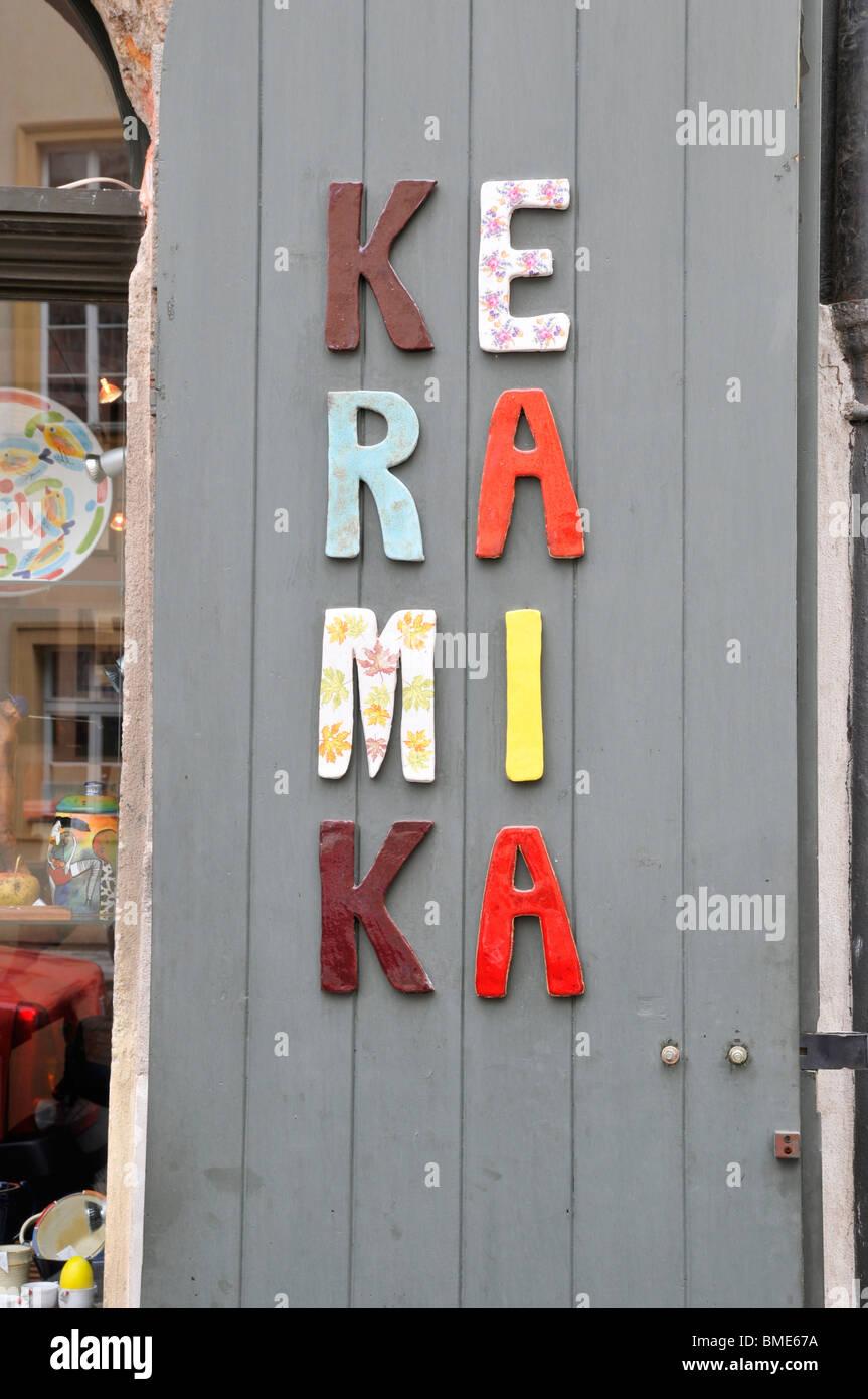 Entrance to art store, Prague , Czech Republic, East Europe - Stock Image