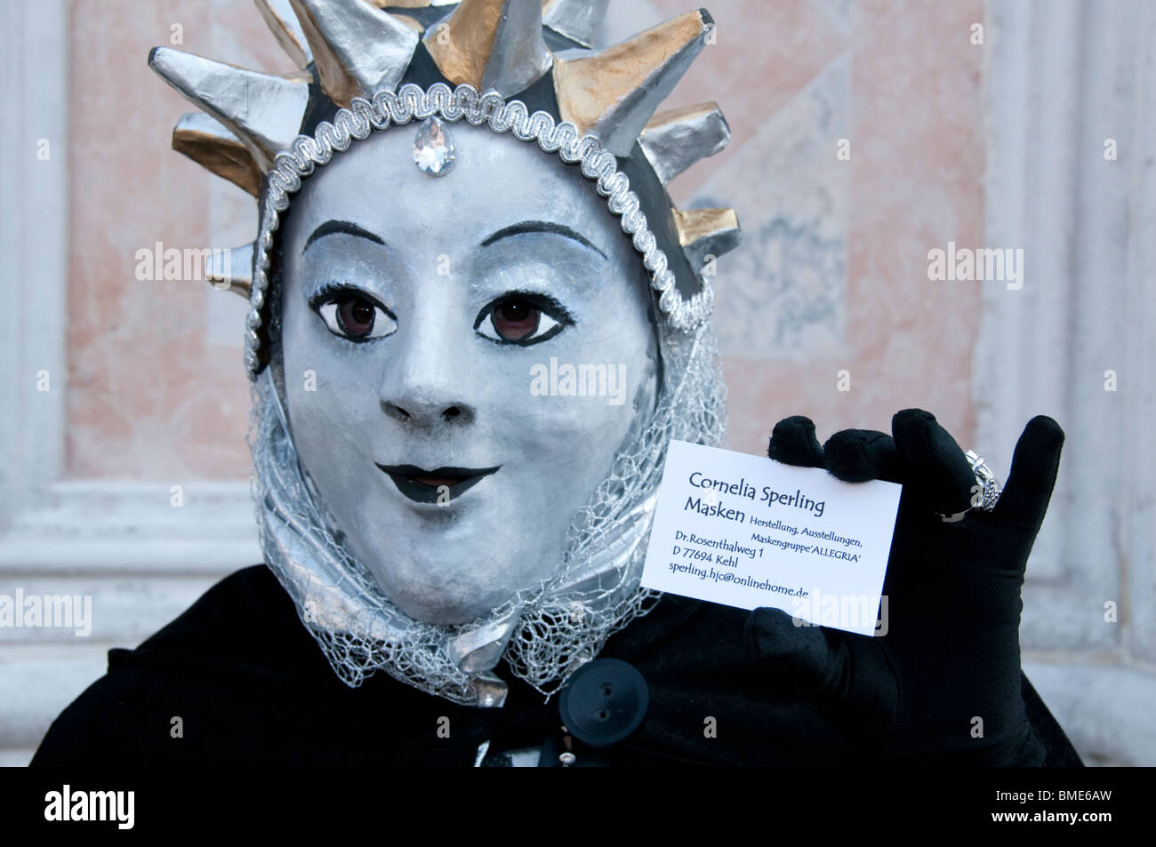 Venice Italy Carnival Costumed participant - Stock Image