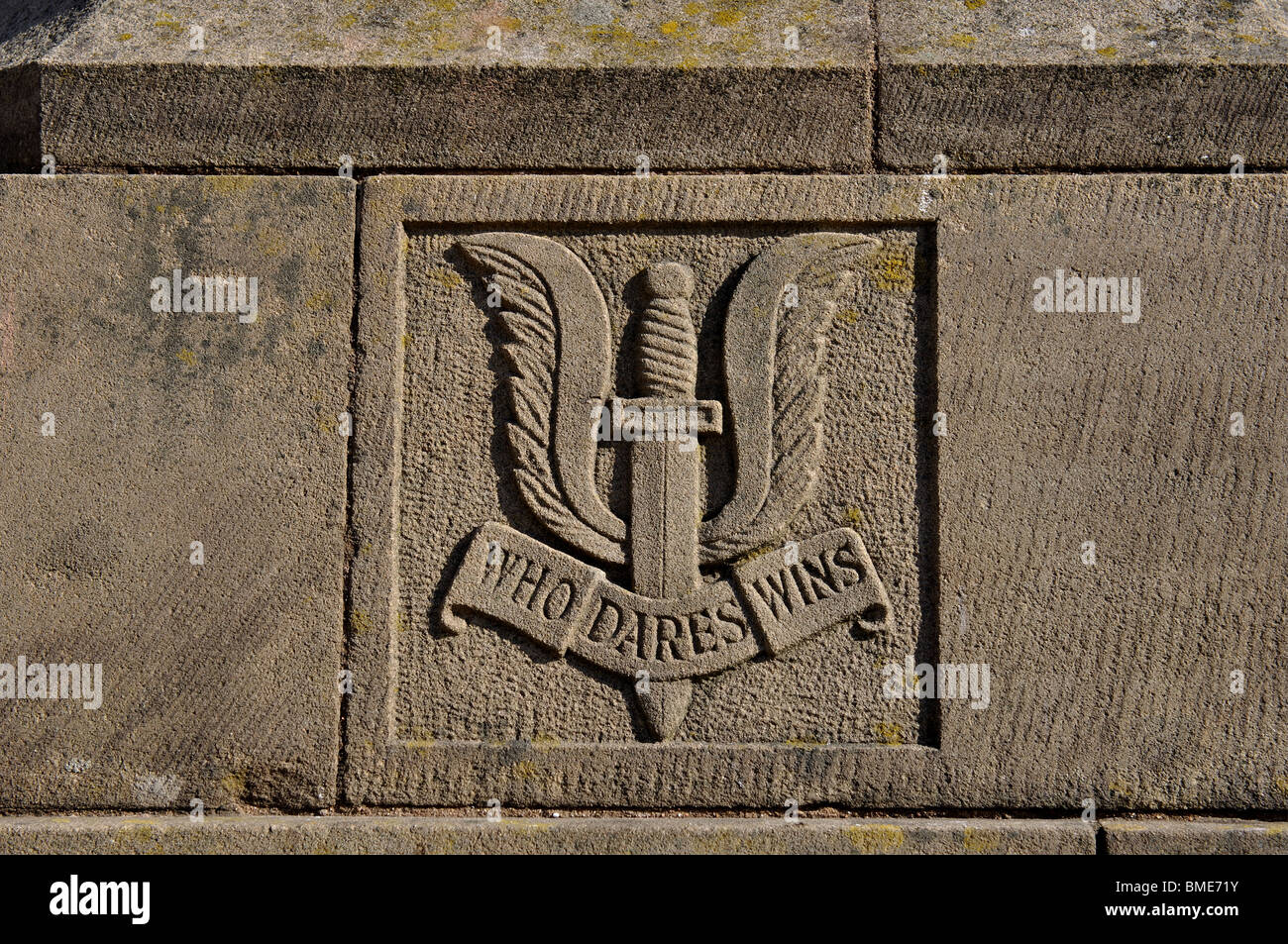 SAS crest on the War Memorial, Hereford, Herefordshire, England, UK - Stock Image
