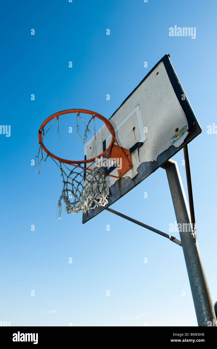 An old basket goal against the sky, Sweden. - Stock Image