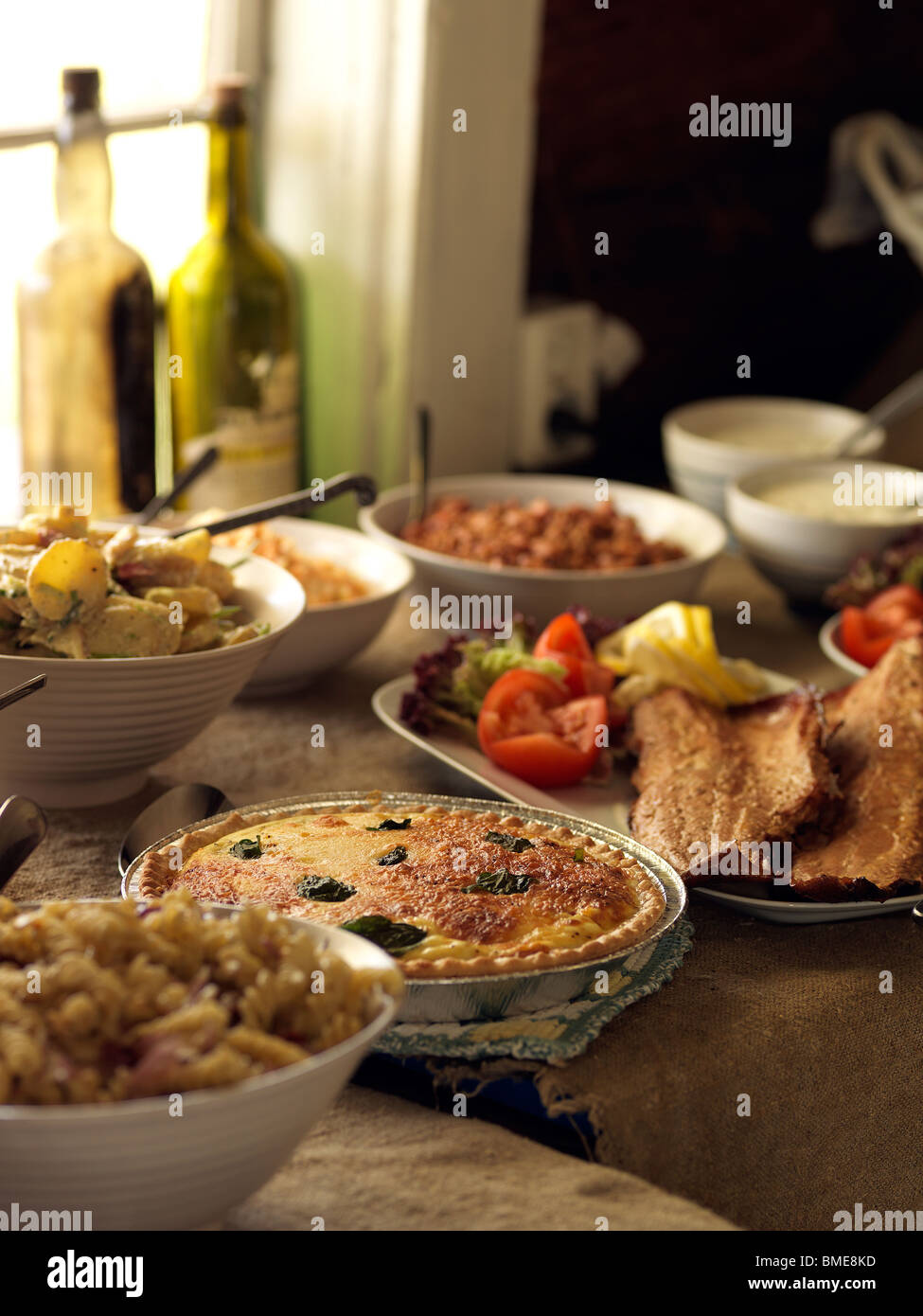 Varied food served at buffet - Stock Image