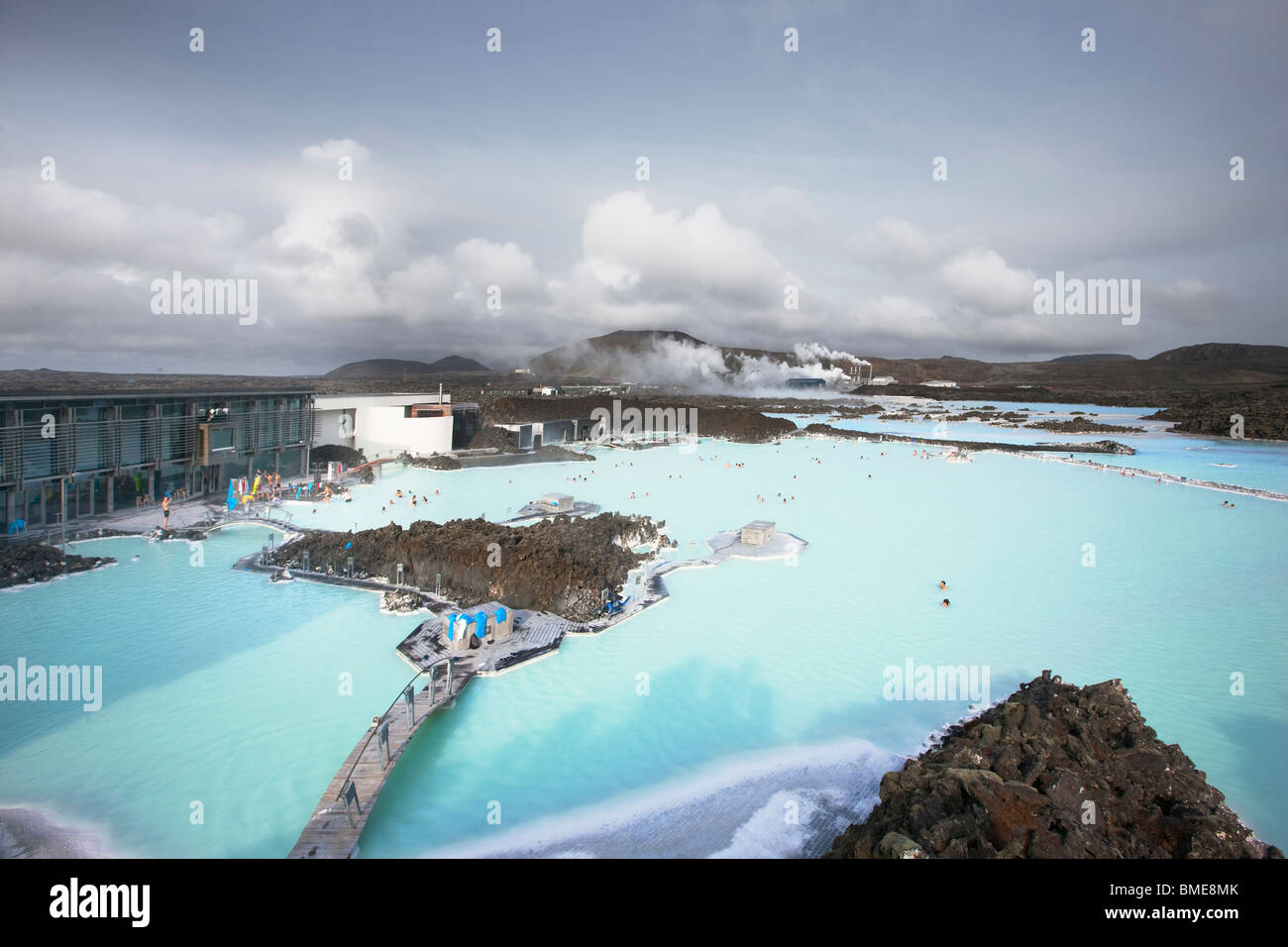 View of blue lagoon geothermal spa - Stock Image