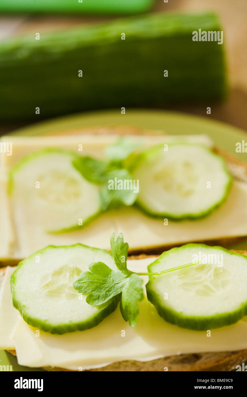 Sandwich with cheese and cucumber, Sweden. - Stock Image