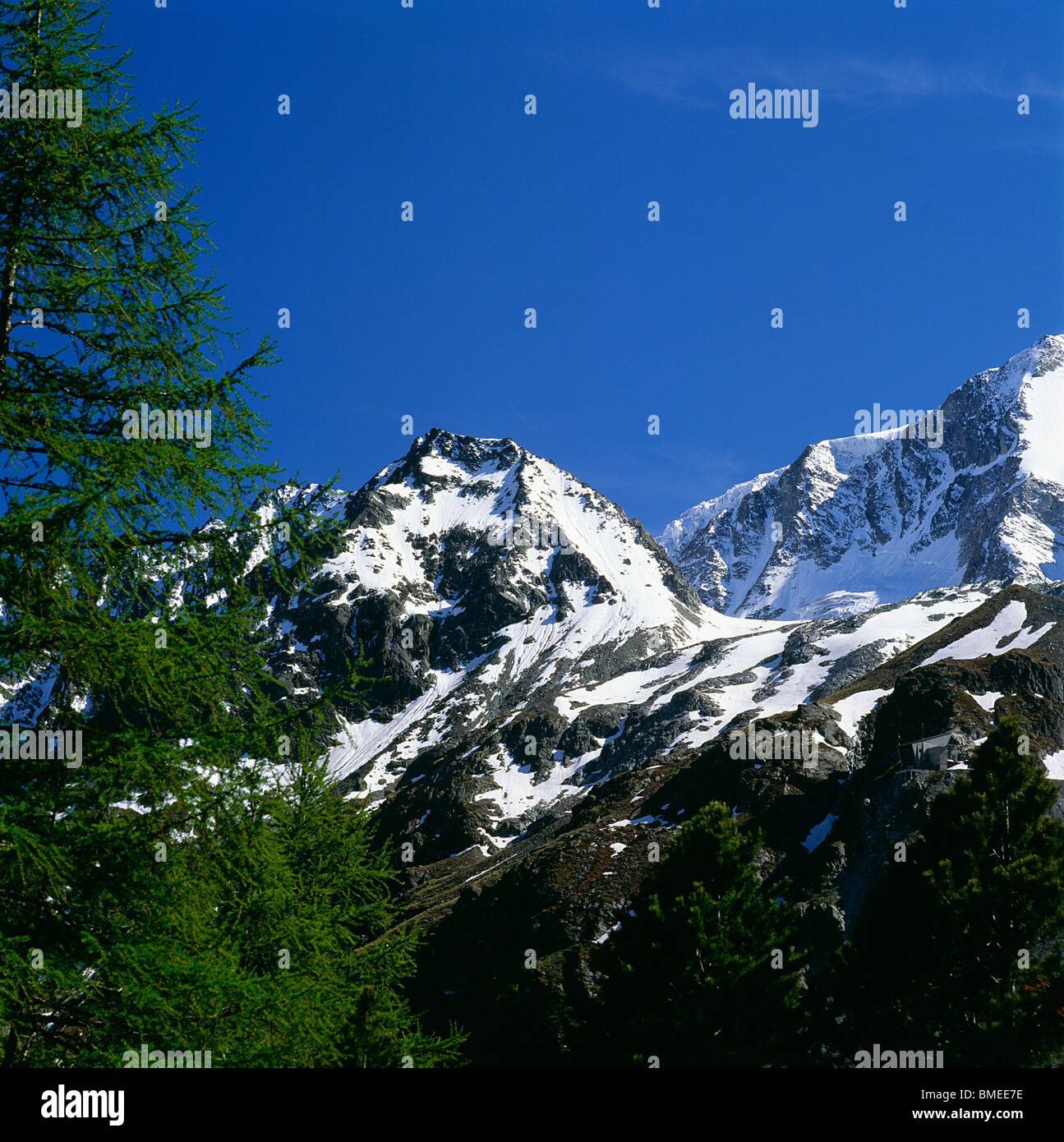 View of snowcapped mountains - Stock Image