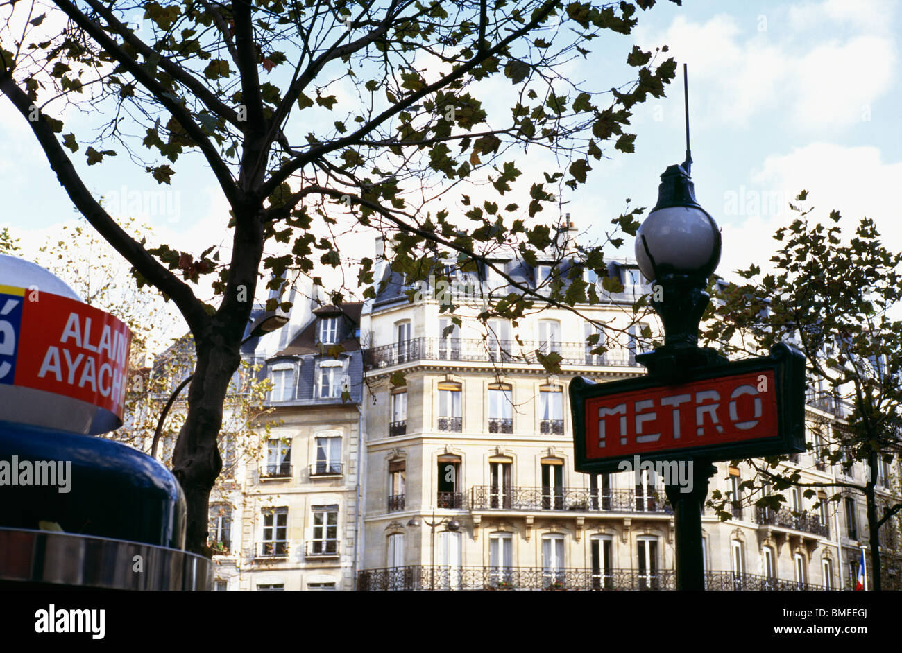 View of metro sign in city Stock Photo