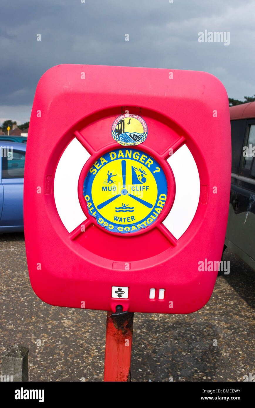 Safety equipment in container on estuary beach at 'Bawdsey Ferry' East Anglia UK - Stock Image
