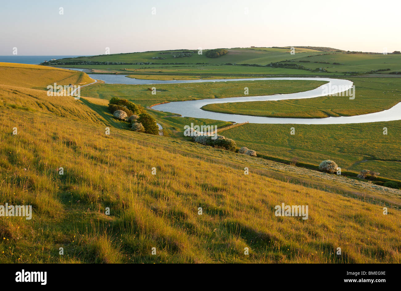 River Cuckmere meandering through Cuckmere Haven near Seaford, East Sussex, England, UK Stock Photo