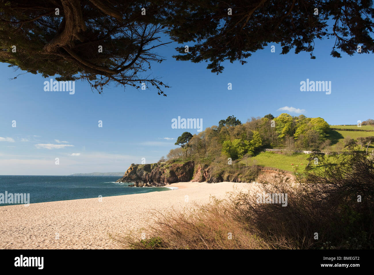 UK, England, Devon, south coast, empty Blackpool sands private beach, on sunny day without people - Stock Image