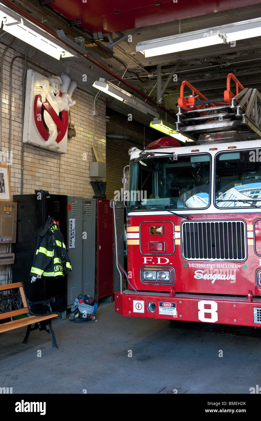 The sinage used in the film Ghostbusters II can be seen inside the firehouse used by Hook & Ladder 8 in New - Stock Image
