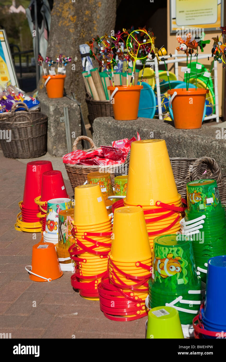 UK, England, Devon, south coast, Blackpool sands shop selling colourful plastic beach toys - Stock Image
