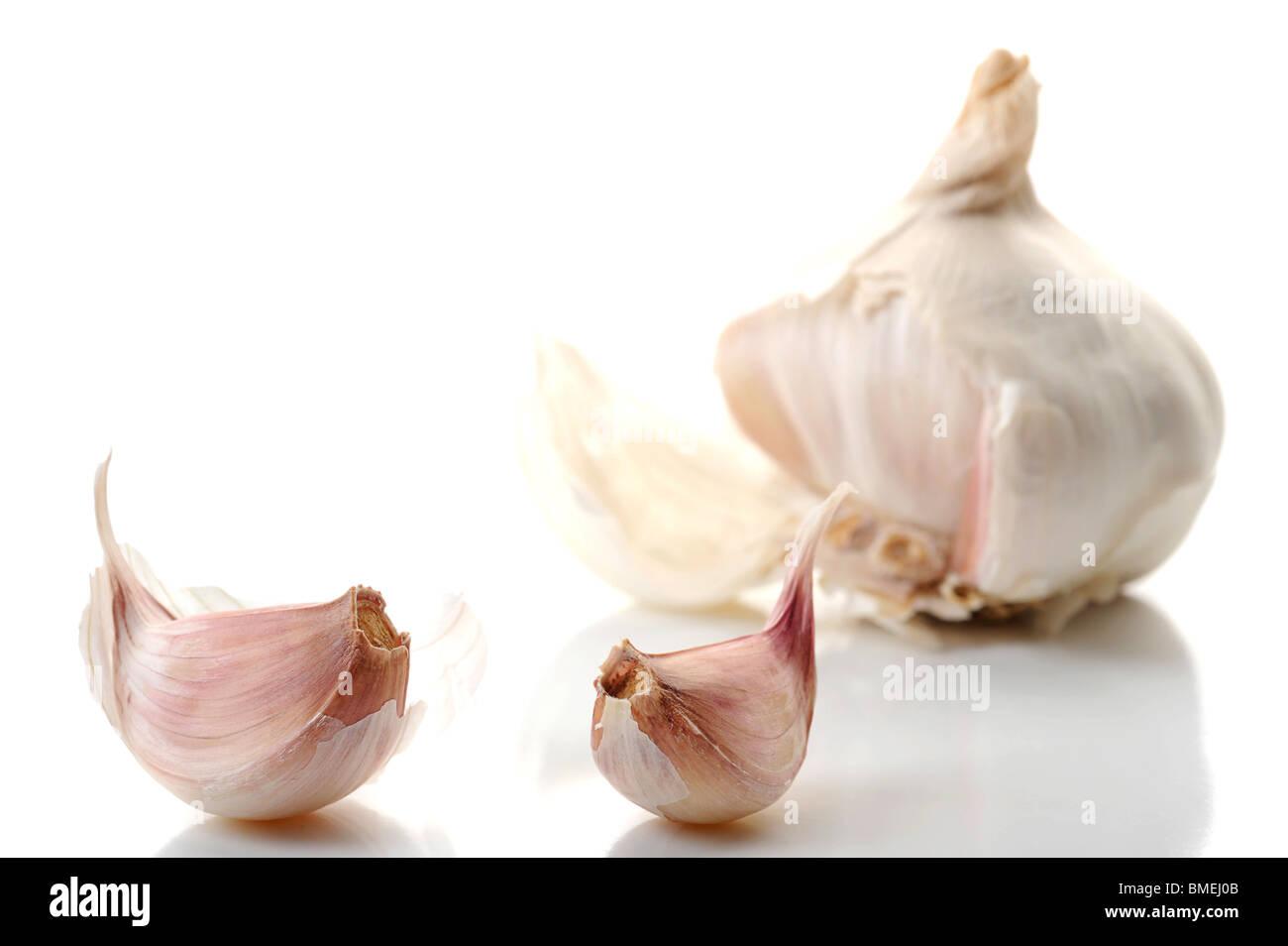 Extreme close-up image of garlic studio isolated on white background - Stock Image