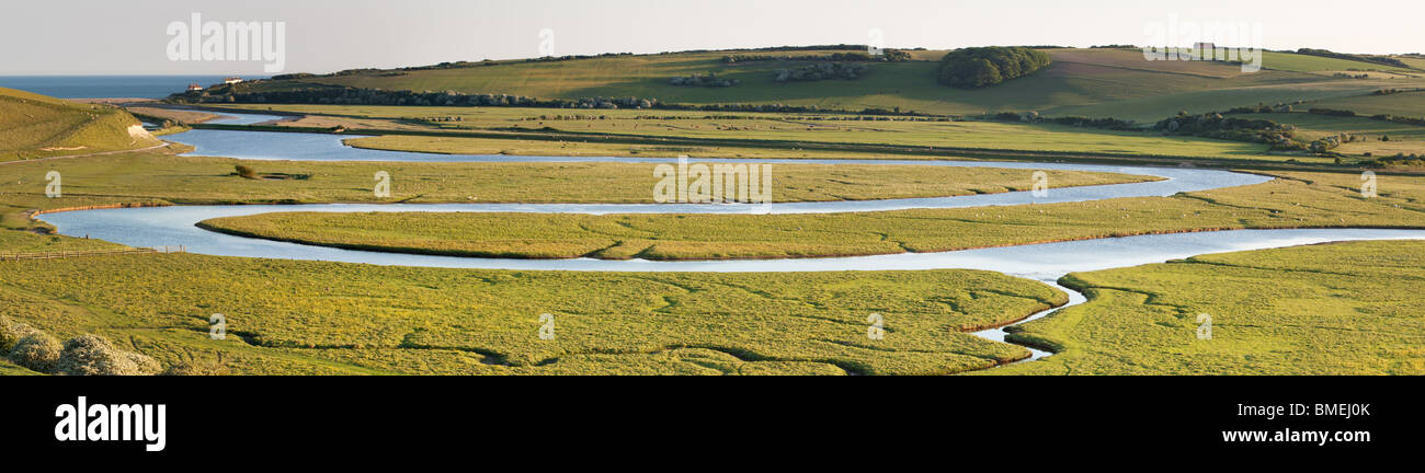A panoramic view of the River Cuckmere, Cuckmere Haven, Seaford, East Sussex, England Stock Photo