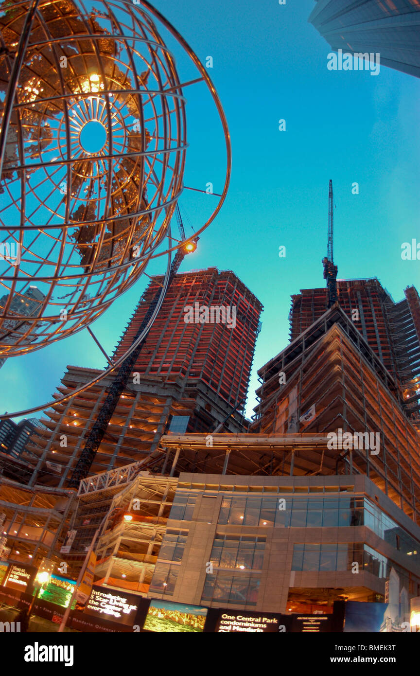 New York, NY, Construction Site at night of Time Warner Center, Mandarin Hotel  Building - Stock Image