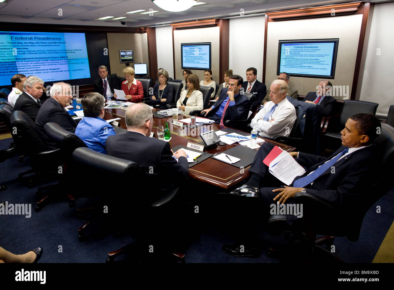 Obama is briefed by FEMA Administrator  Fugate and Homeland Security Secretary  Napolitano on the outlook for hurricane - Stock Image