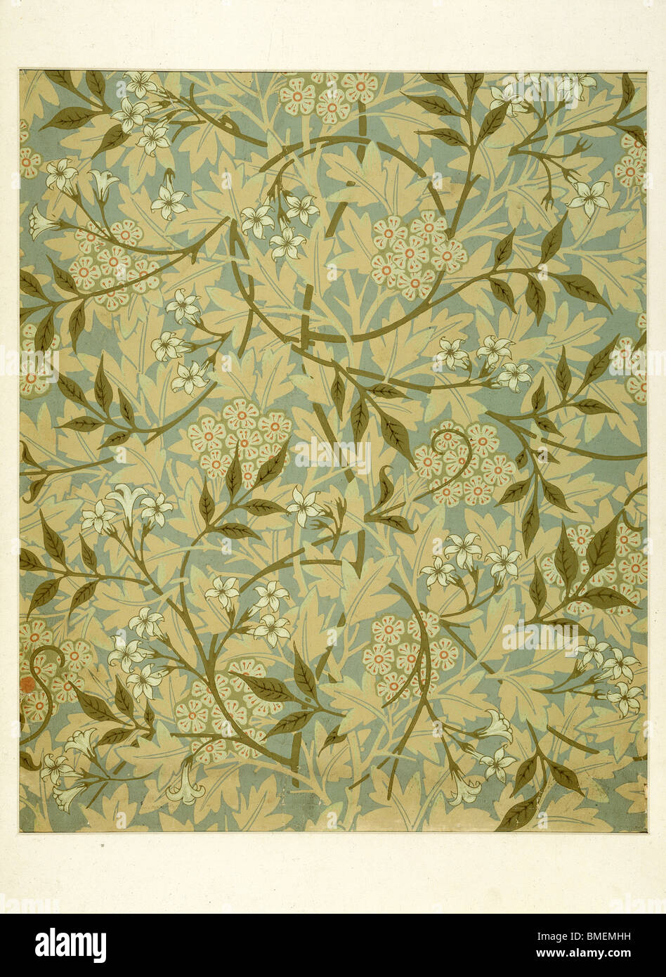 Jasmine wallpaper, by William Morris. England, late 19th century - Stock Image