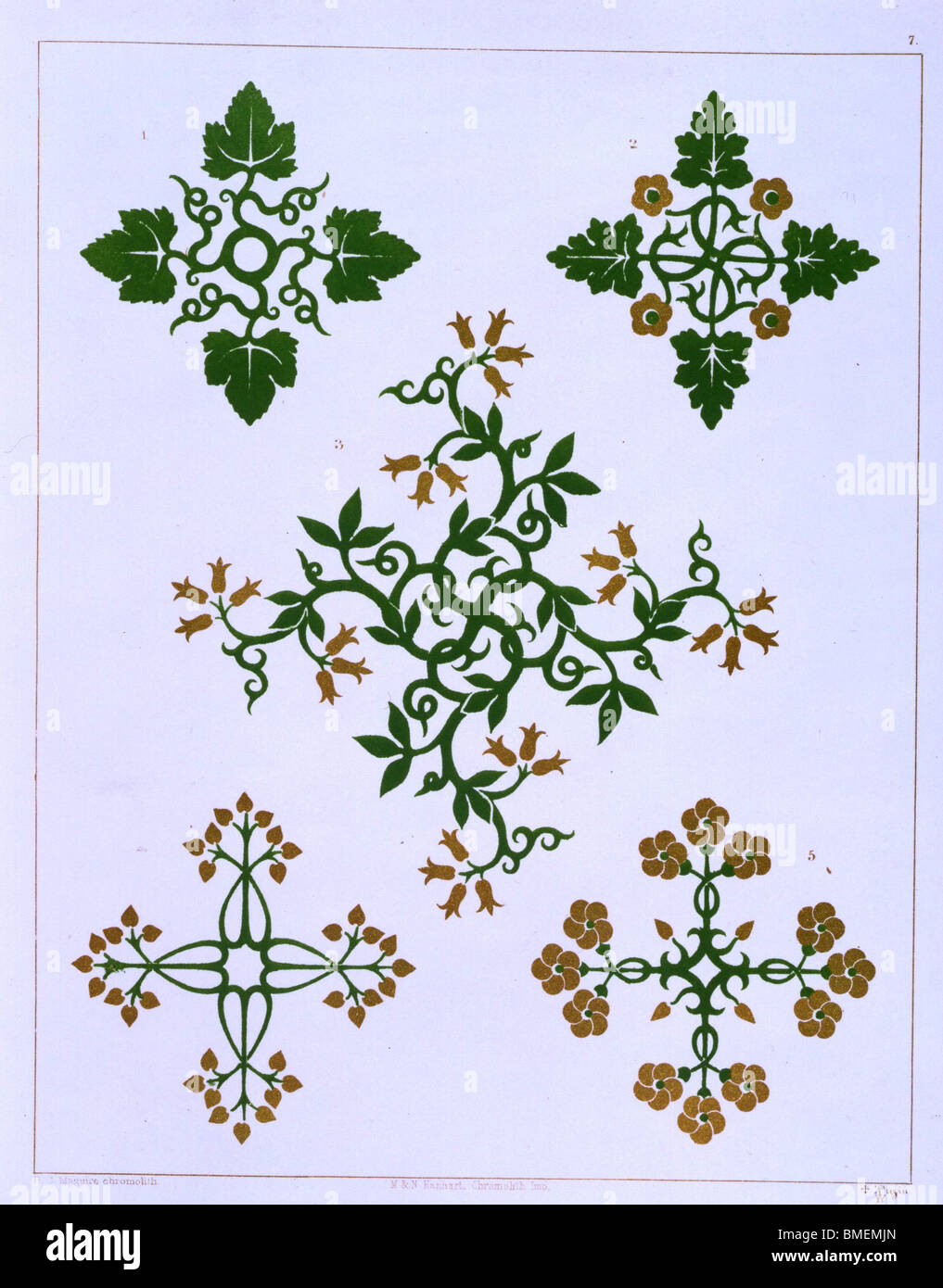 Floriated Ornament By AWN Pugin.  London. 1848 - Stock Image