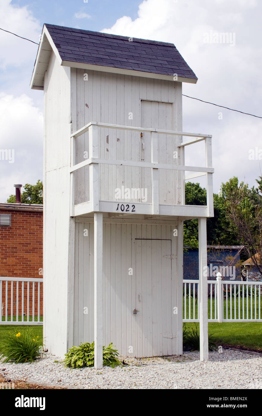Two Story Outhouse in Gays Illinois - Stock Image