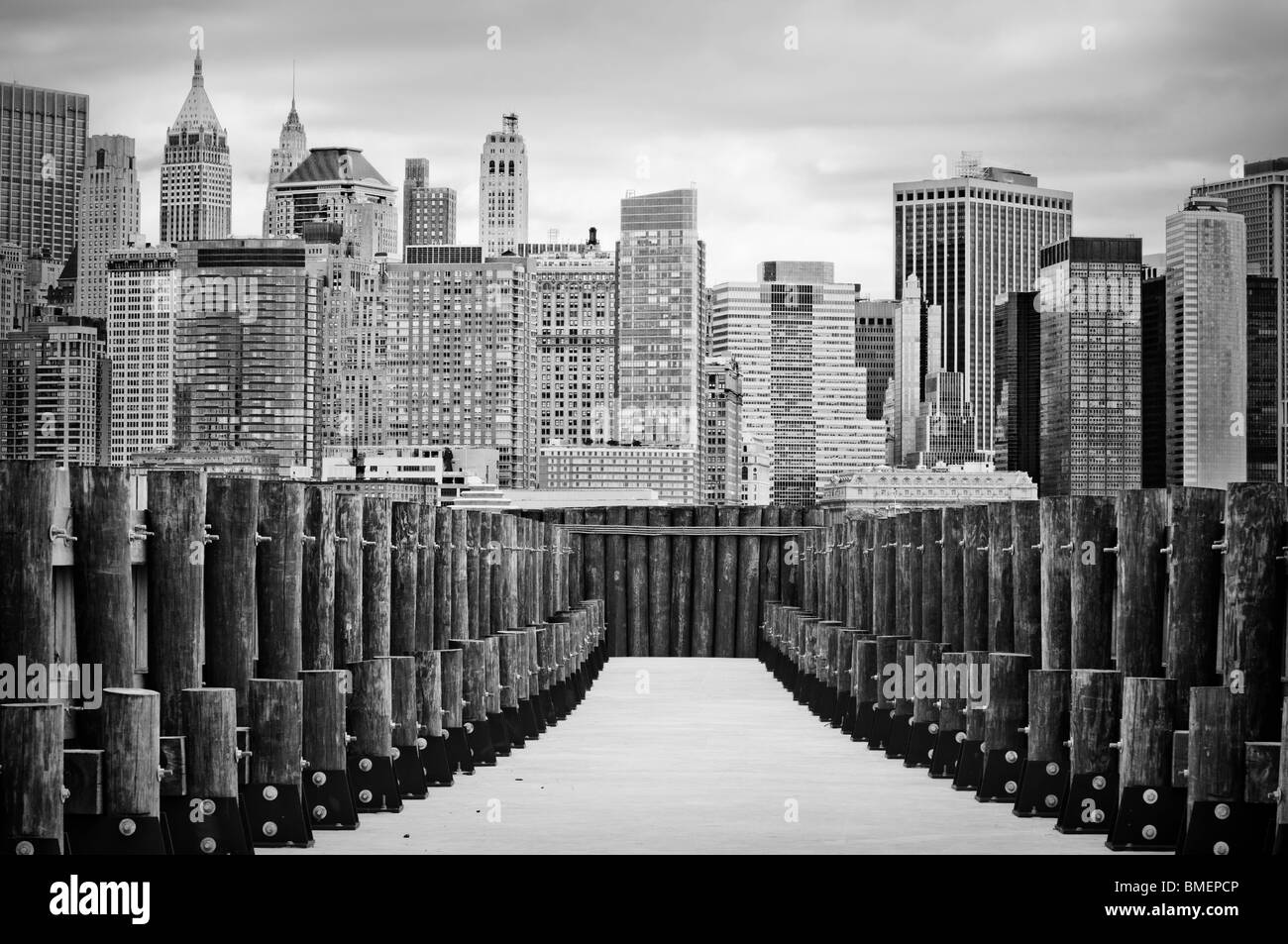 New York City Skyline Wood Black and White Stock Photos