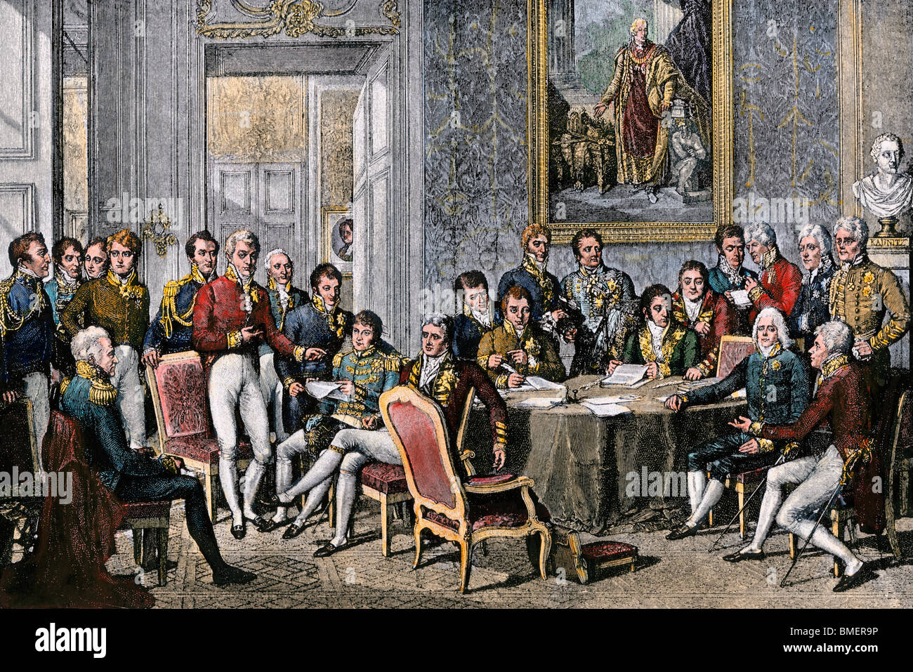 European statesmen meeting at the Congress of Vienna to close the Napoleonic Wars, 1815. Hand-colored woodcut - Stock Image