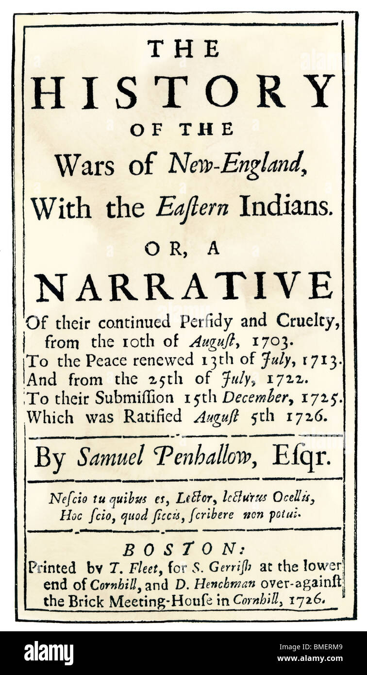 'History of the Wars of New England with the Eastern Indians,' title page of a publication in Boston, 1726. - Stock Image