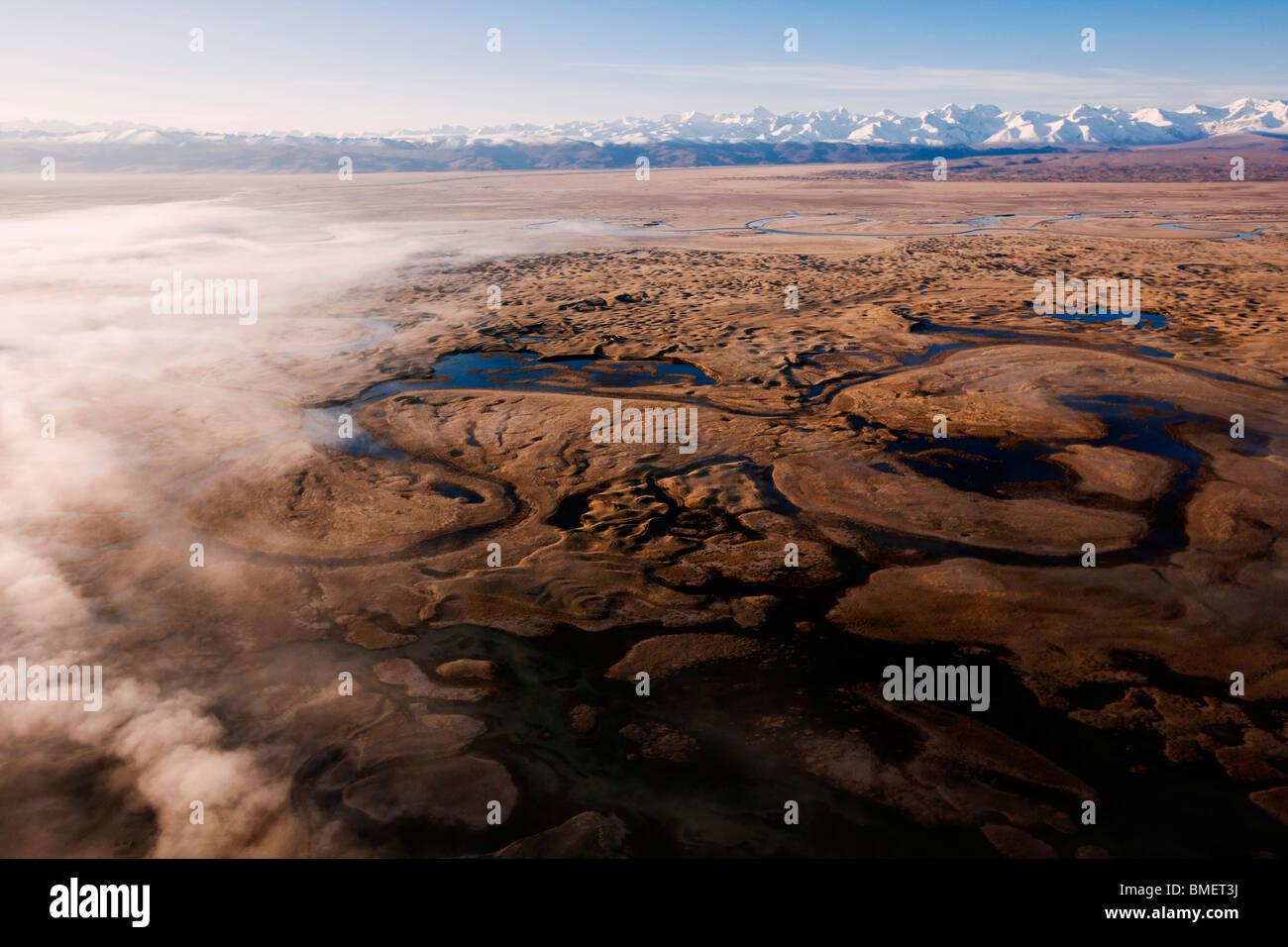 Aerial view of Swan Lake, Bayanbulak Grasslands, Bayingolin Mongol Autonomous Prefecture, Xinjiang, China - Stock Image
