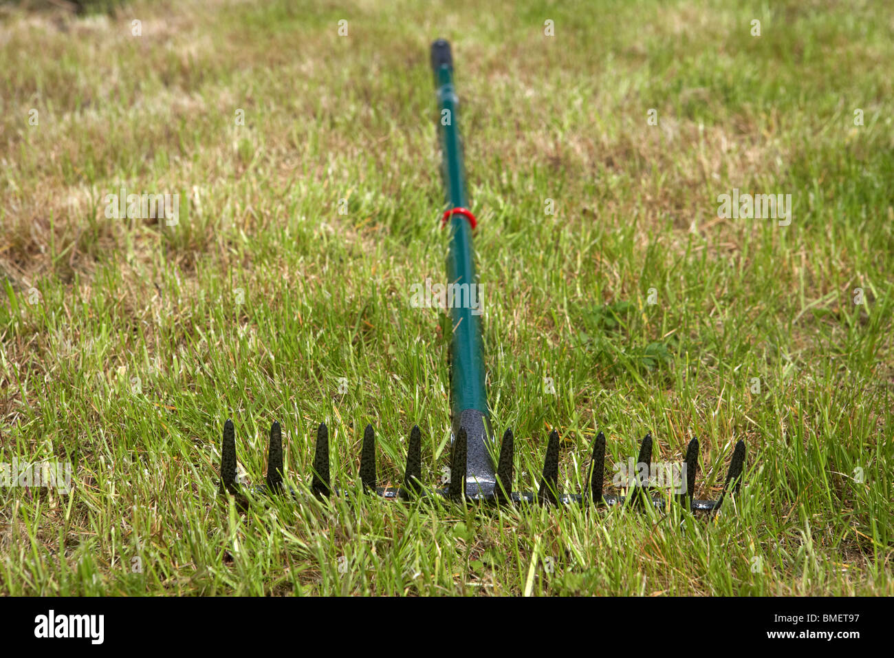 upturned garden rake lying discarded in freshly cut grass in a garden in the uk ireland - Stock Image