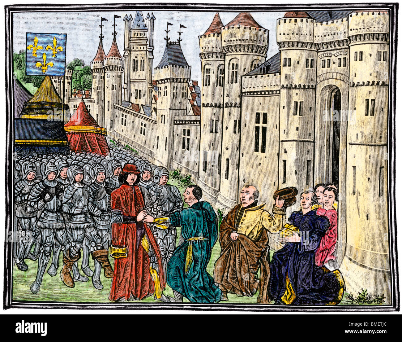 French army recaptures Bordeaux during the Hundred Years' War, 1451. Hand-colored woodcut Stock Photo
