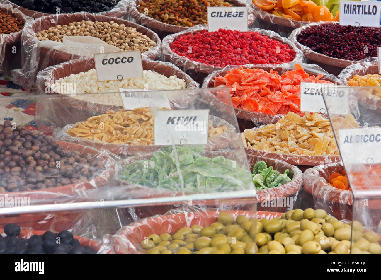 Italy, Lake Maggiore, Dried fruit stall - Stock Image