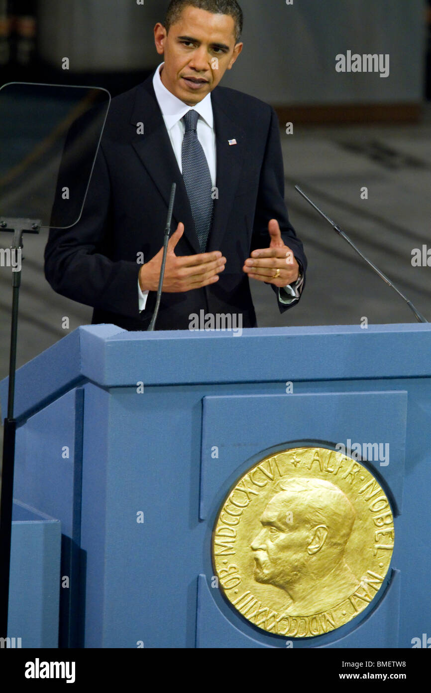 President Barack Obama delivering the 2009 Nobel Peace Prize lecture. (Photo by Scott London) - Stock Image