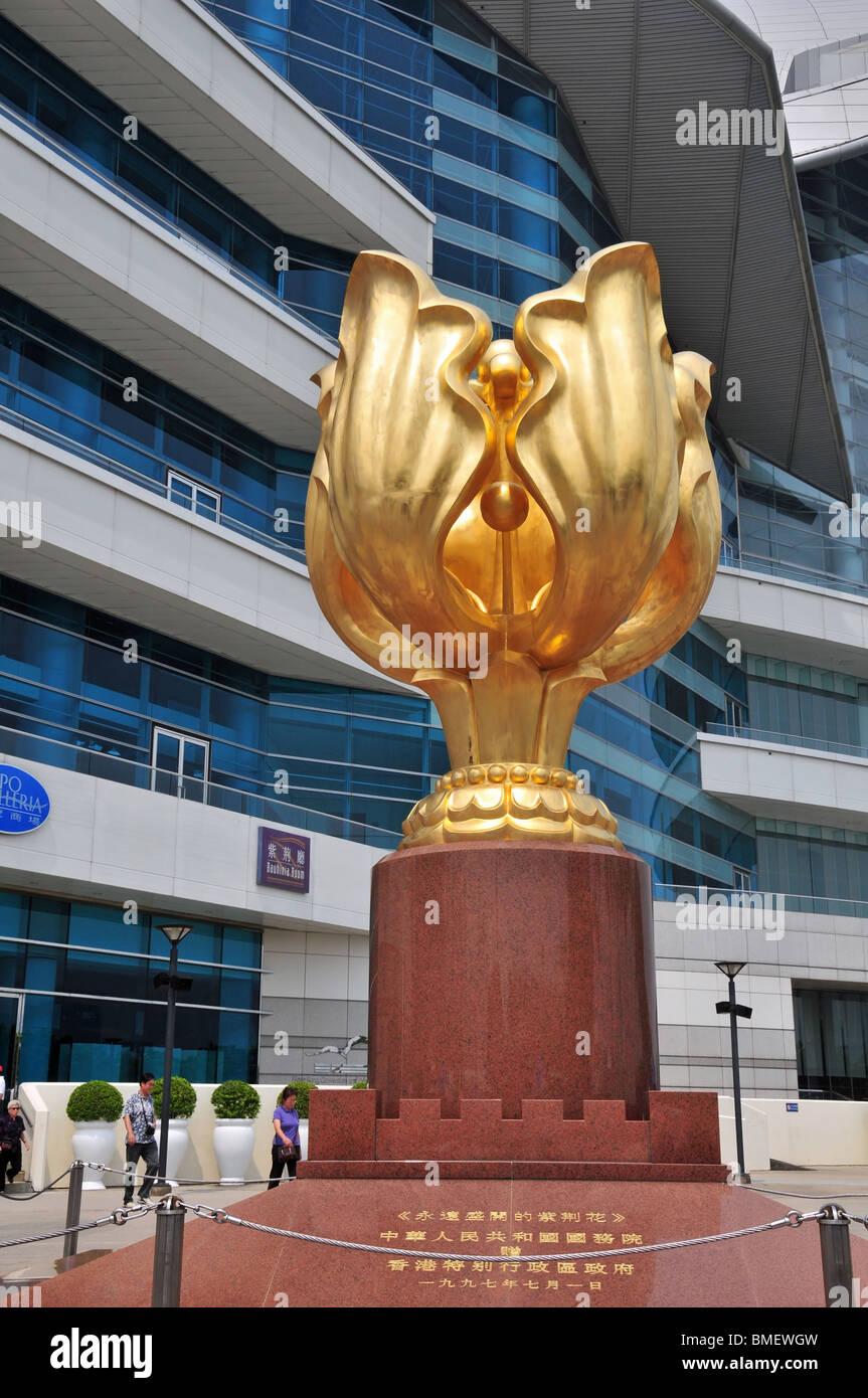 Golden Bauhinia Memorial, celebrating the 1997 handover of Hong Kong to China, Wan Chai Waterfront, Hong Kong - Stock Image
