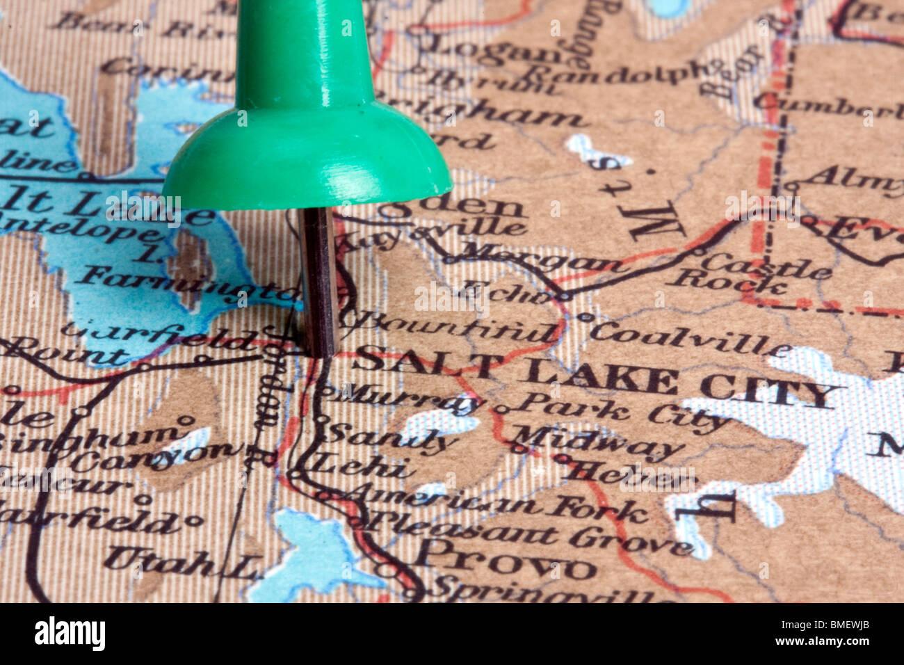 Salt Lake City on map from 1963 Stock Photo: 29830931 - Alamy