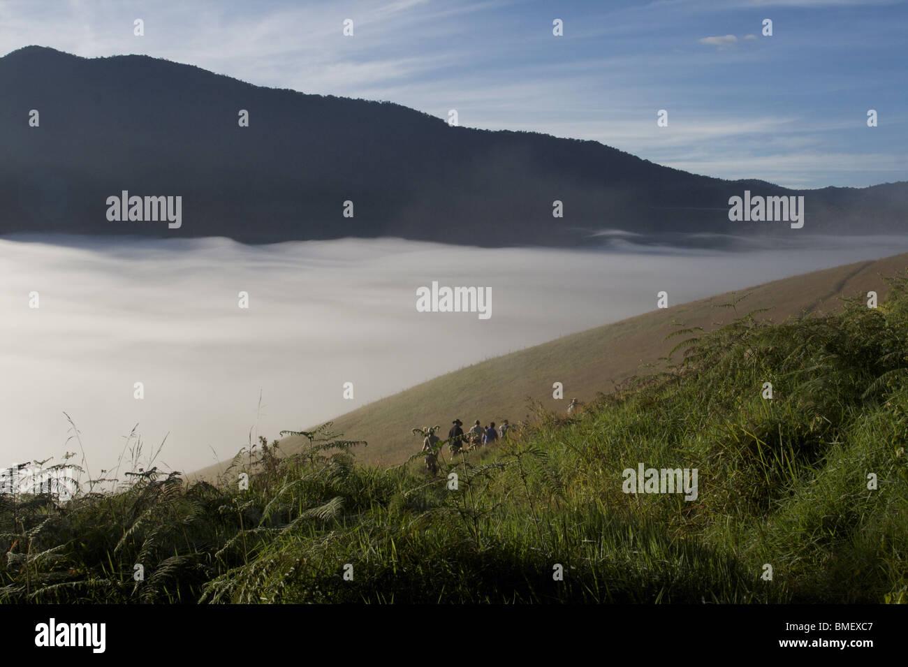 Trekkers at Myola Basin, along the Kokoda Trail, PNG - Stock Image