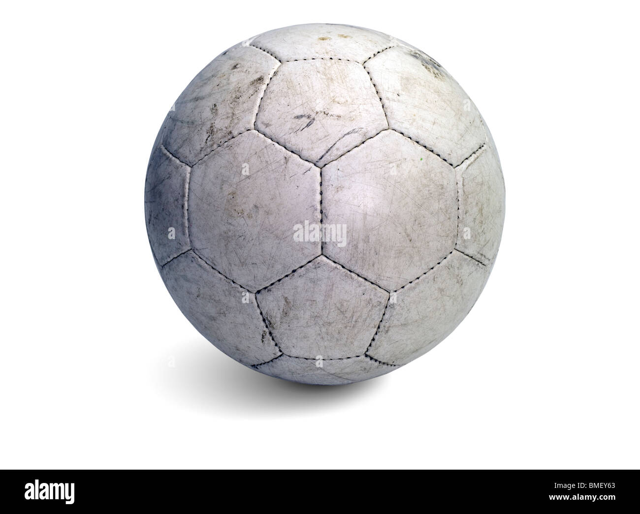 Soccer ball white with shadow - Stock Image
