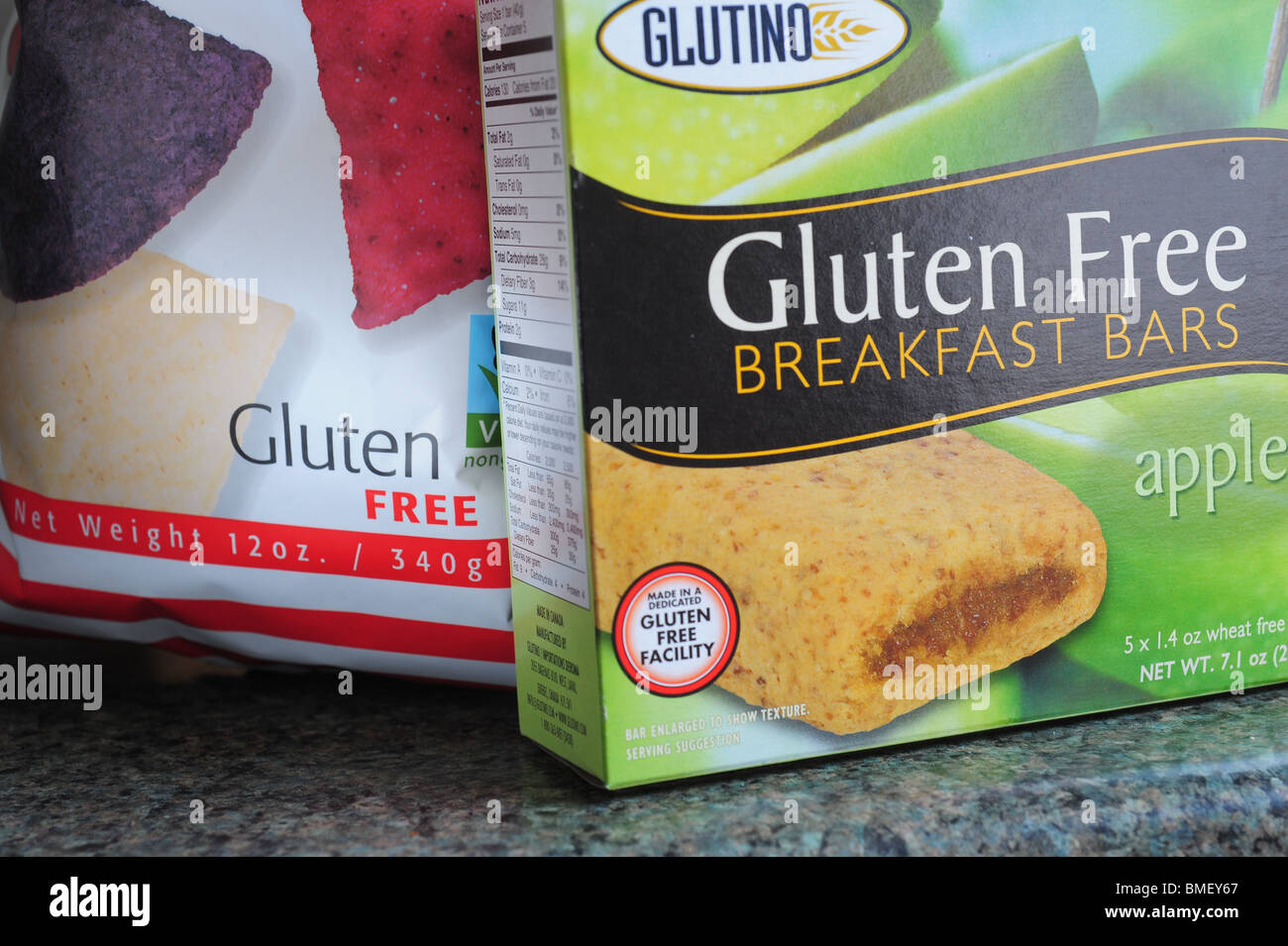 Gluten free food products Tortilla chips an breakfast bars - Stock Image