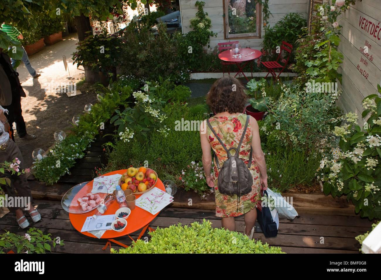 Woman in Garden, Paris, France, Garden Festival, \