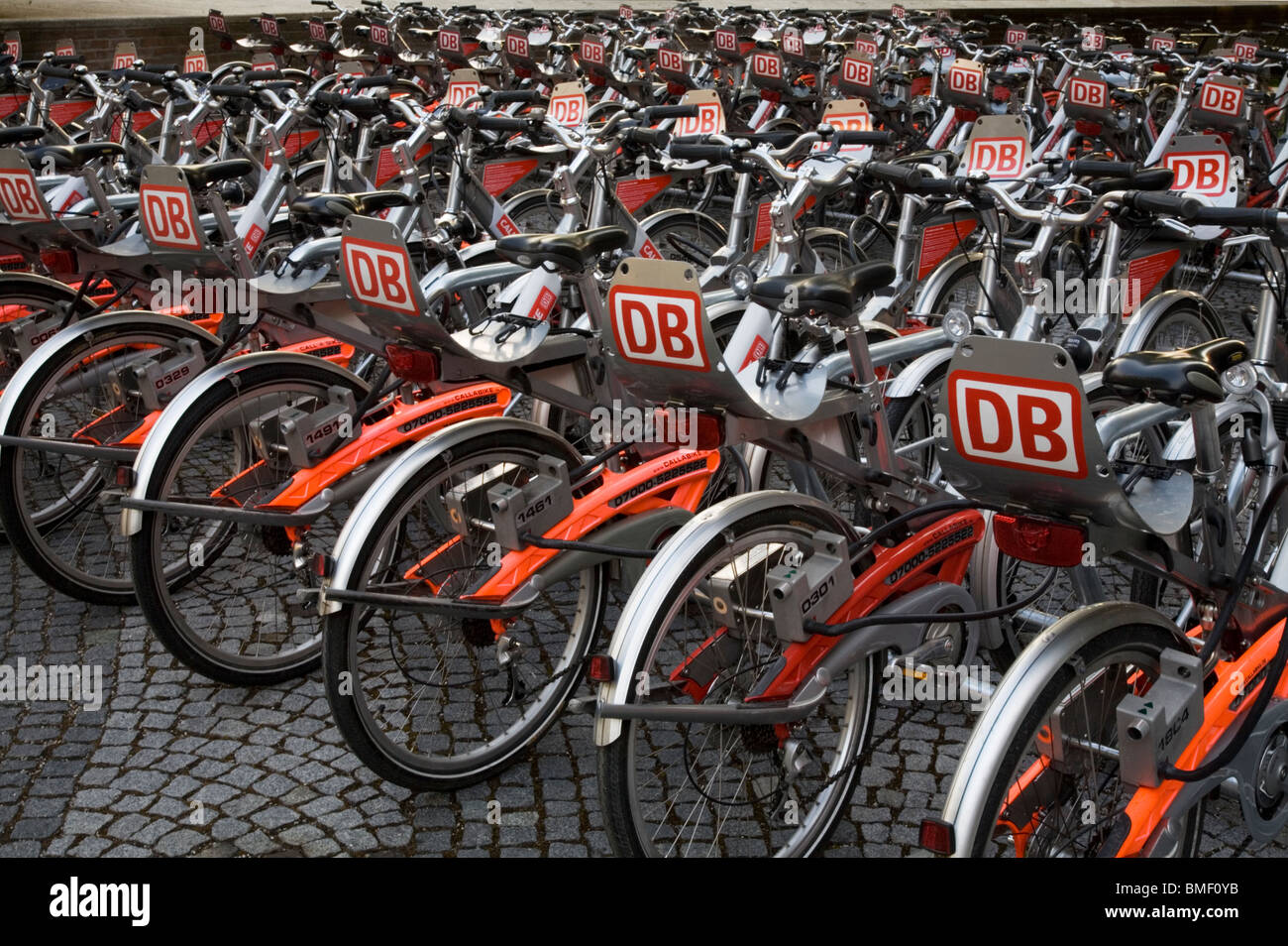 Bicycles for rental in www.callabike.de. Munich, Germany - Stock Image