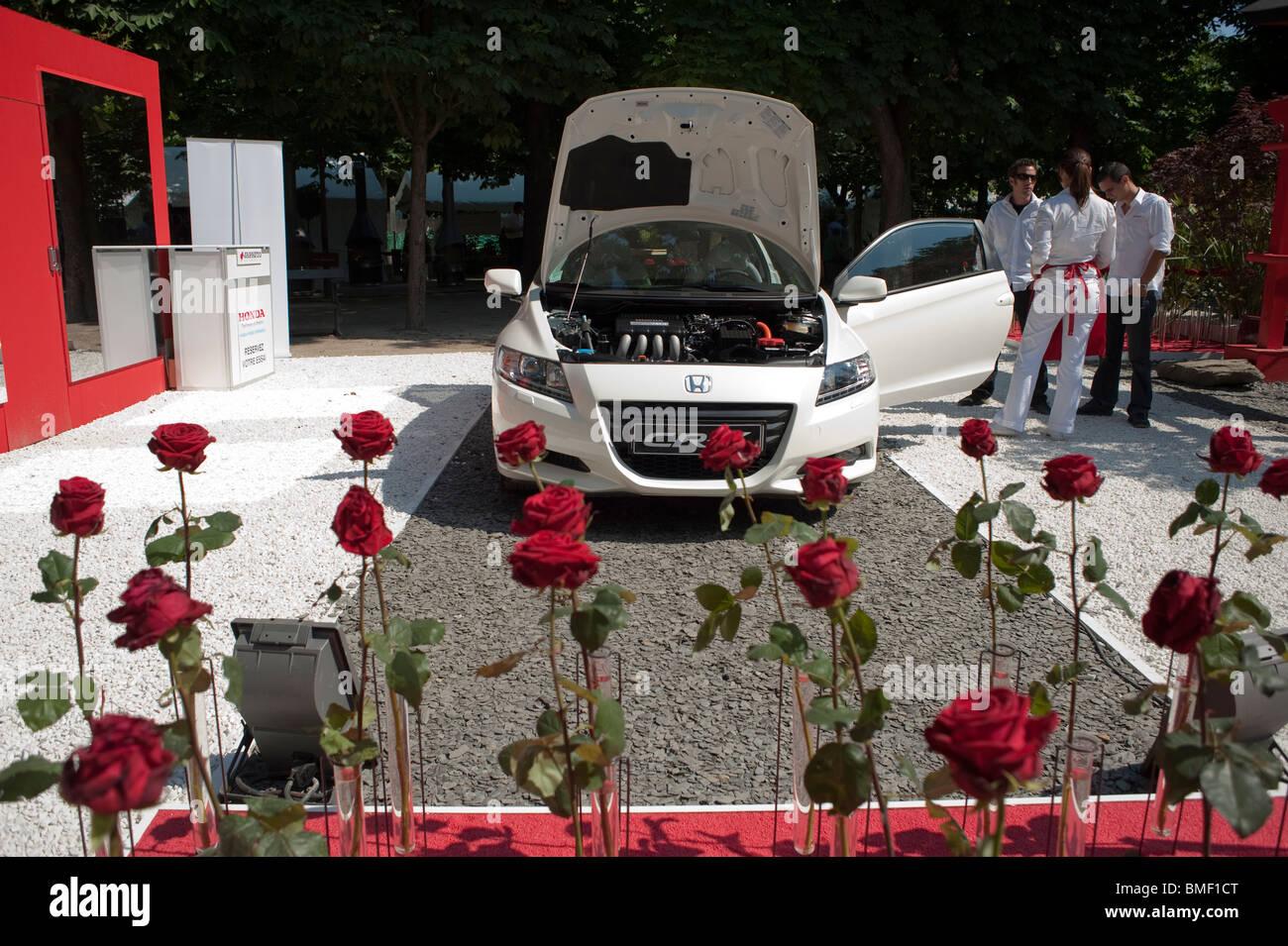 Japanese Hybrid Car, Honda CR-Z, on Display in Rose Garden, Garden Festival, Jardin des Tuileries, Paris, France Stock Photo