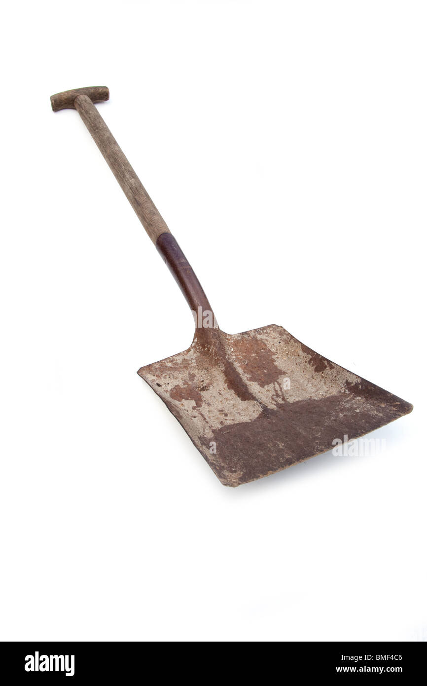 Traditional metal shovel, isolate on a white studio background. - Stock Image