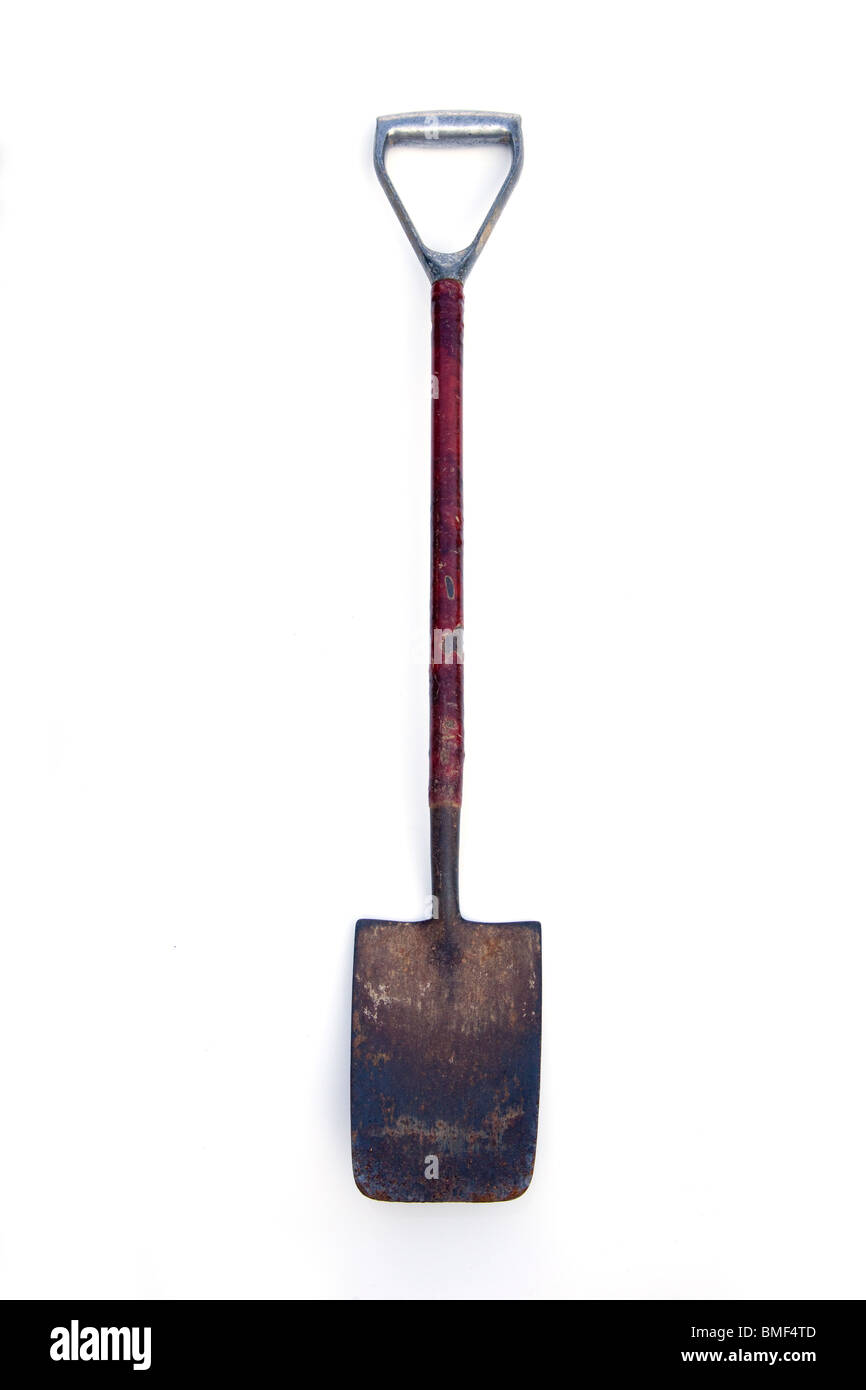 Metal gardening spade isolated on a white studio background. - Stock Image