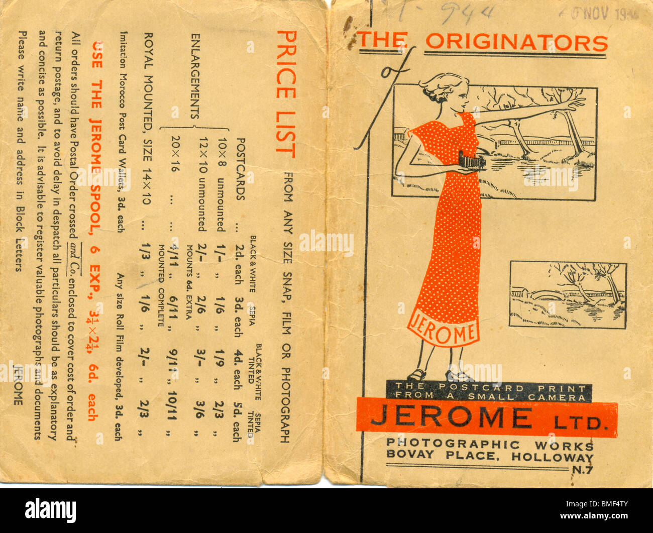Photo wallet from Jerome Ltd date stamped 20 November 1935 - Stock Image