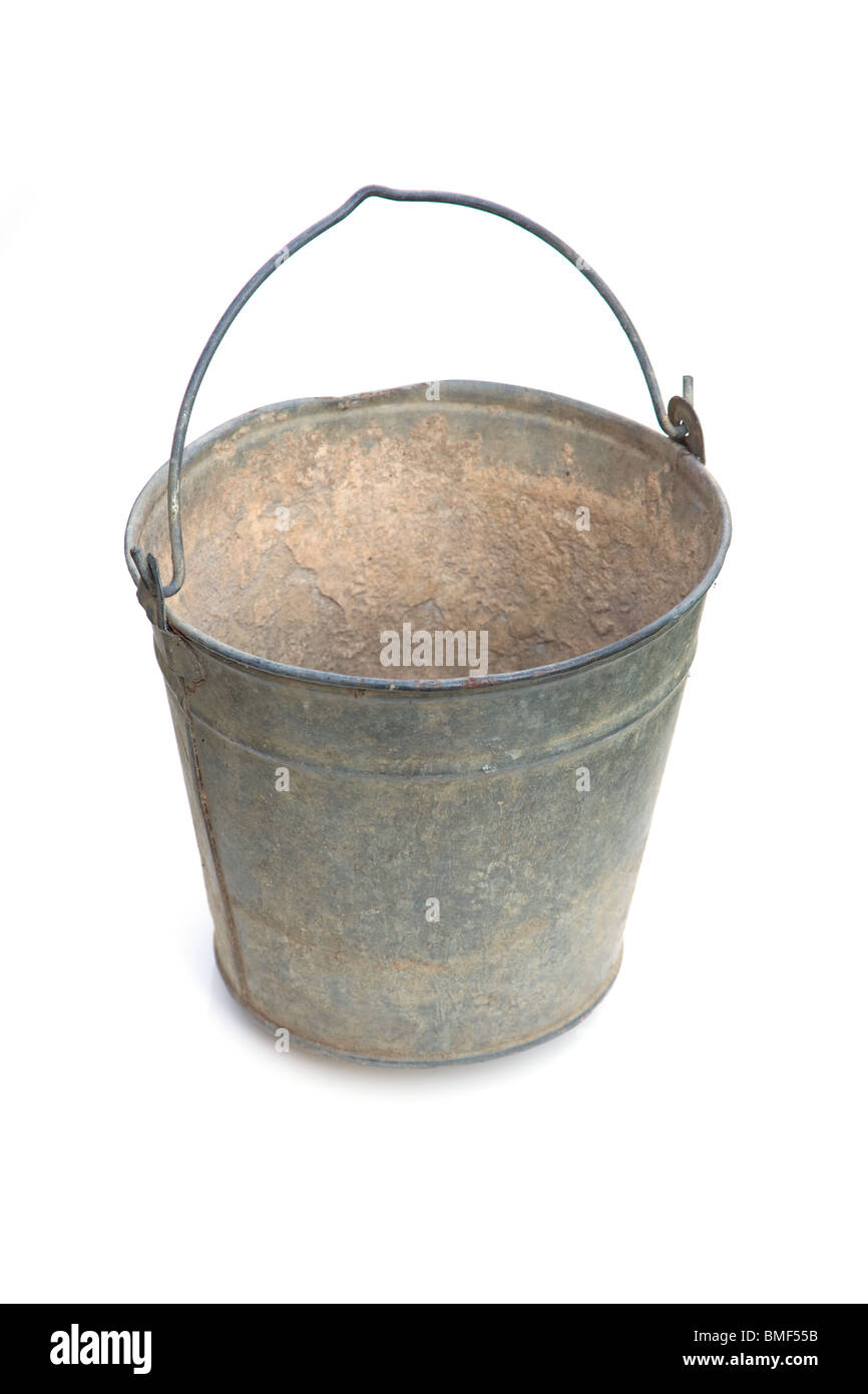Galvanized steel bucket isolated on a white studio background. - Stock Image