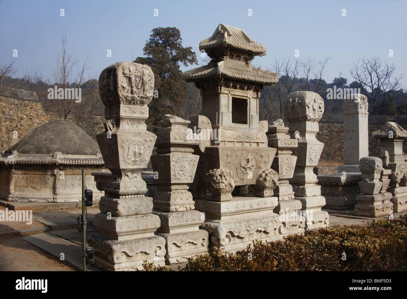 View of statues, Tomb Of Eunuch Tian Yi, Beijing, China Stock Photo