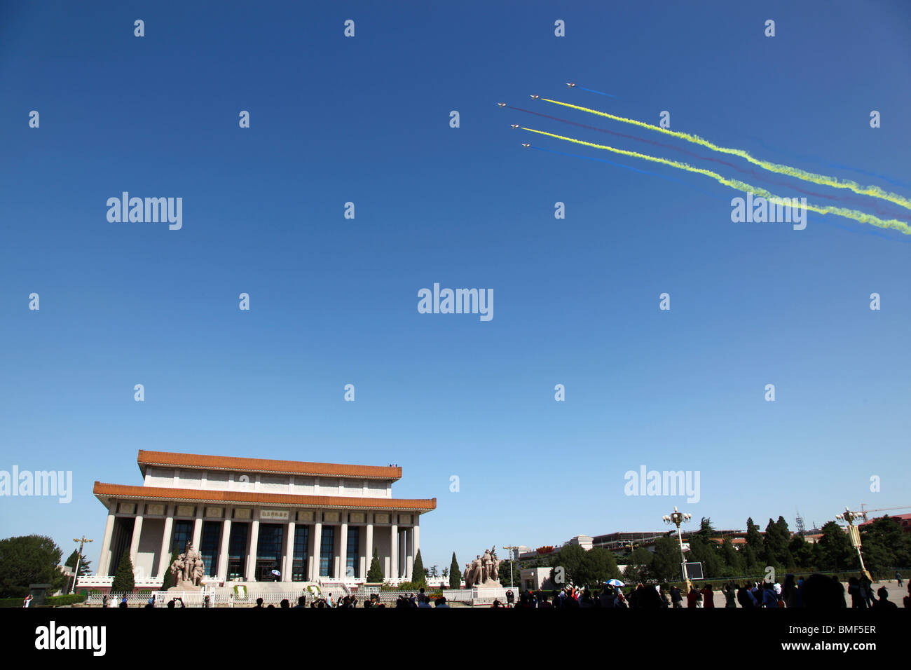 Jet plane contrail in clear blue sky, The 60th Anniversary of the People's Republic of China, Tian'anmen - Stock Image