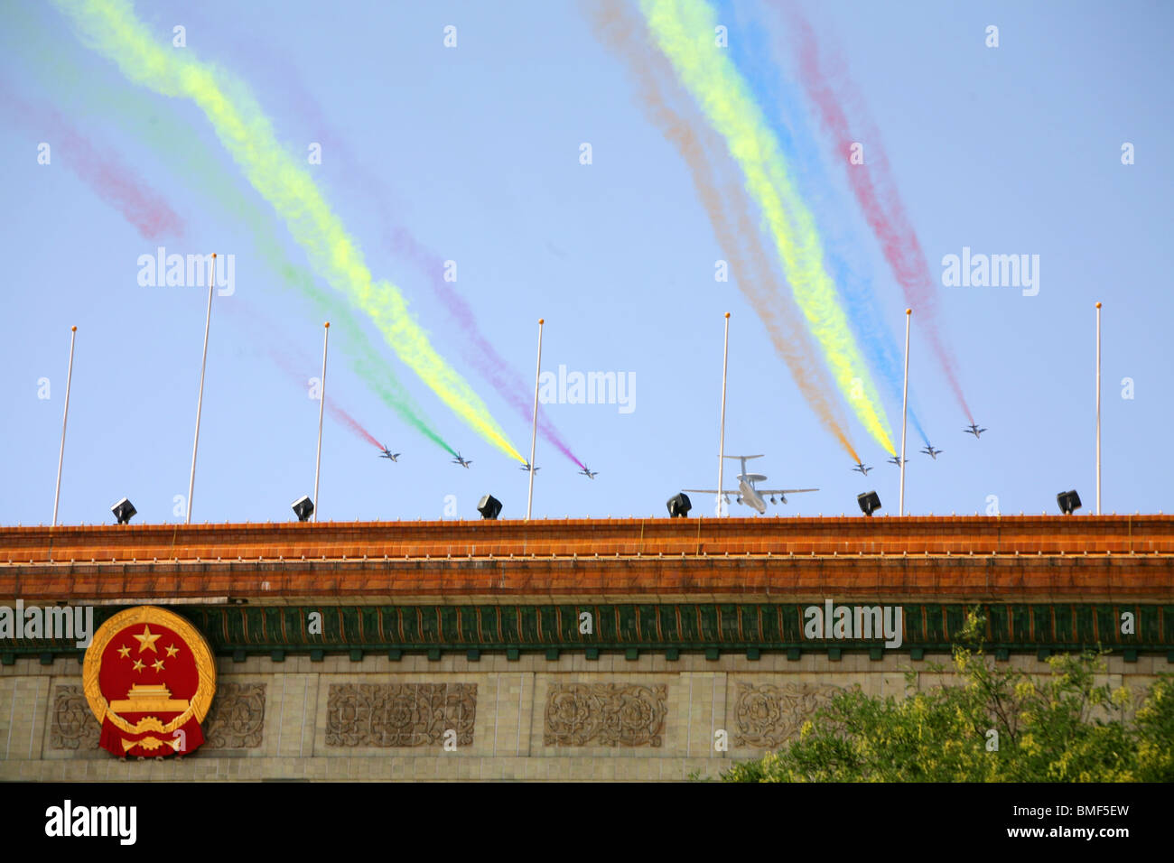Fighter aircrafts flying over Great Hall Of The People, The 60th Anniversary of the People's Republic of China, - Stock Image