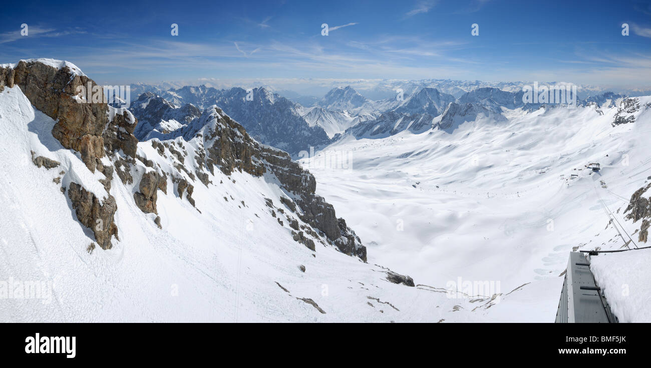 View of the snow covered Alps from Zugspitze, Germanys highest mountain, Bavaria, Germany - Stock Image