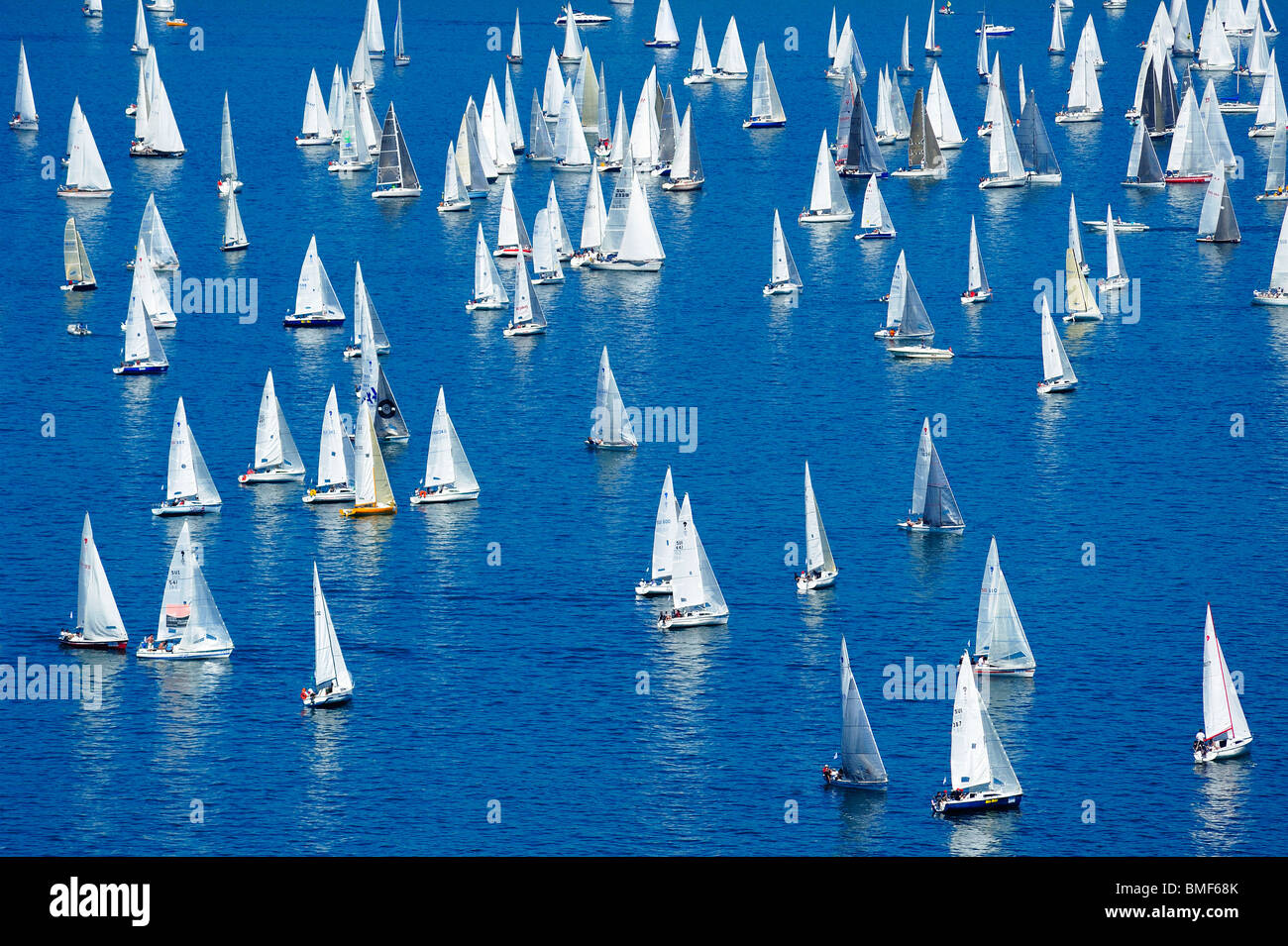Start of the 2009 Bol d'Or sailing race, on Lac Léman, Geneva. Taken from a high viewpoint overlooking the lake Stock Photo