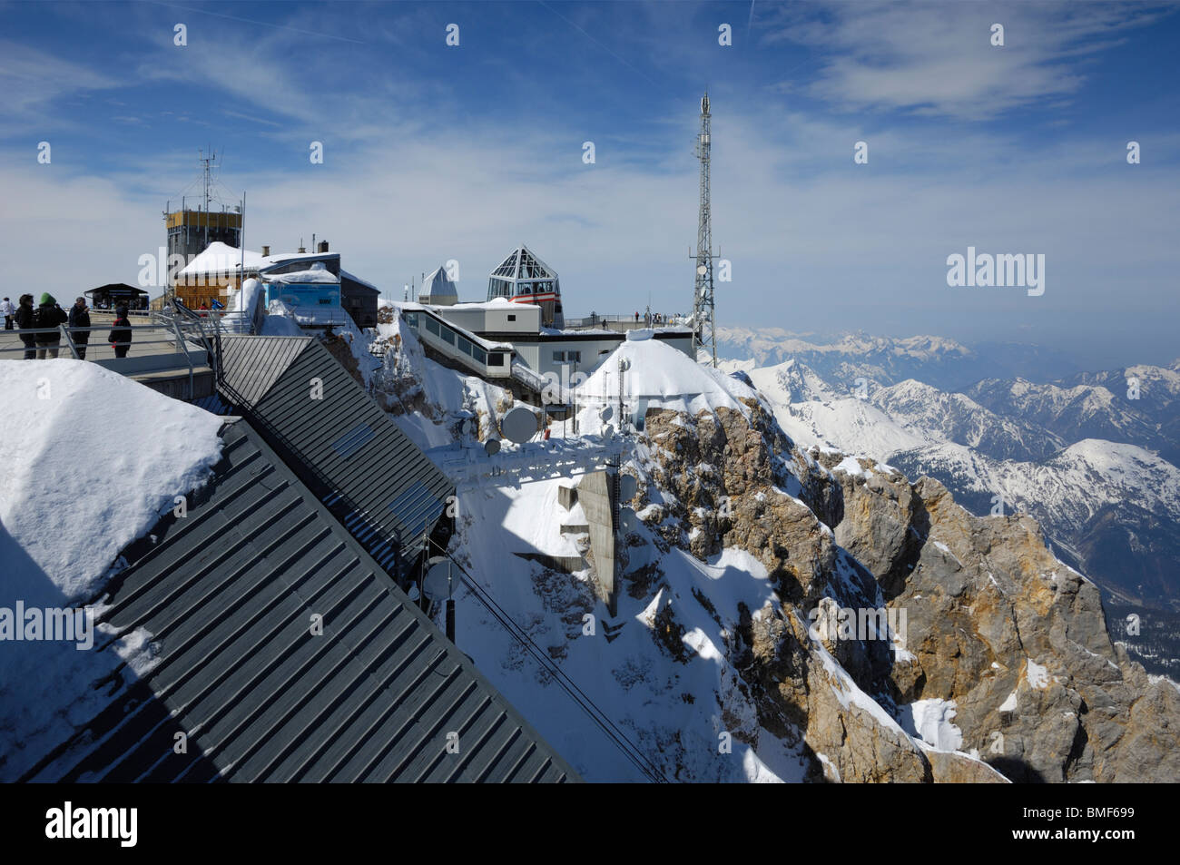 View from Zugspitze, Germanys highest mountain, Bavaria, Germany - Stock Image